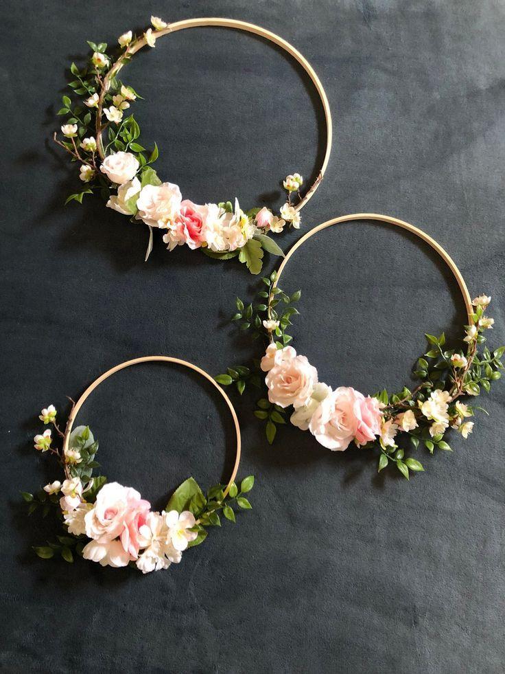 Satz von 3 Blumen Creolen Kranz, Blumen Hintergrund Stütze, Garten Hochzeitsdekoration, Boho Chic Foto Stütze nach Maß, Blumen Kinderzimmer Wandst…