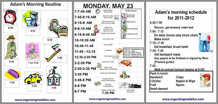 Cute graphics for kids' schedules