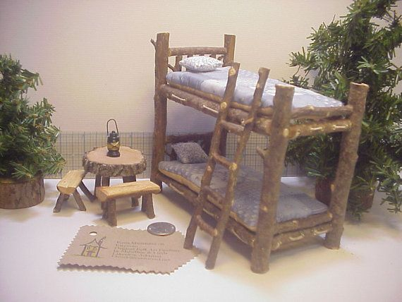 """1"""" scale Bunkbeds 9 piece Set of Rustic Miniature Dollhouse Furniture Set Woodland Real Puki Doll Log Cabin Table on Etsy, $28.00"""