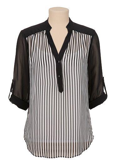 3/4 roll tab sleeve stripe chiffon blouse