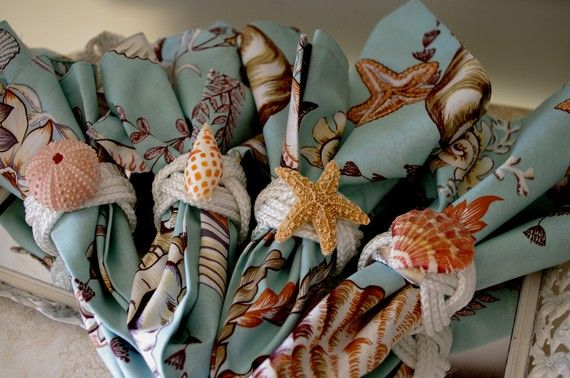 Set of 4 Turks Head Knot Napkins Rings with Sea Life - CUTE! $24.00