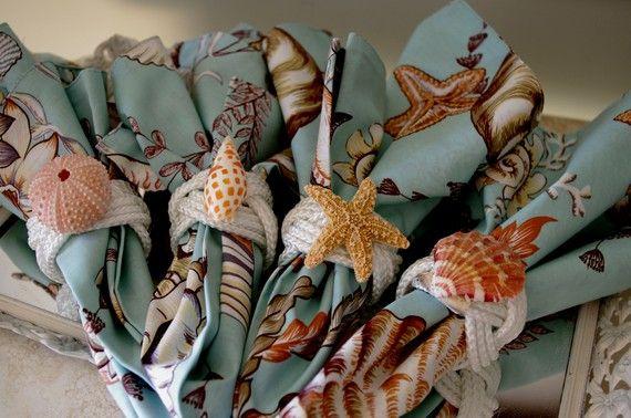 Plage Decor turcs tête noeud anneaux de serviettes avec Sea Life - jeu de 4