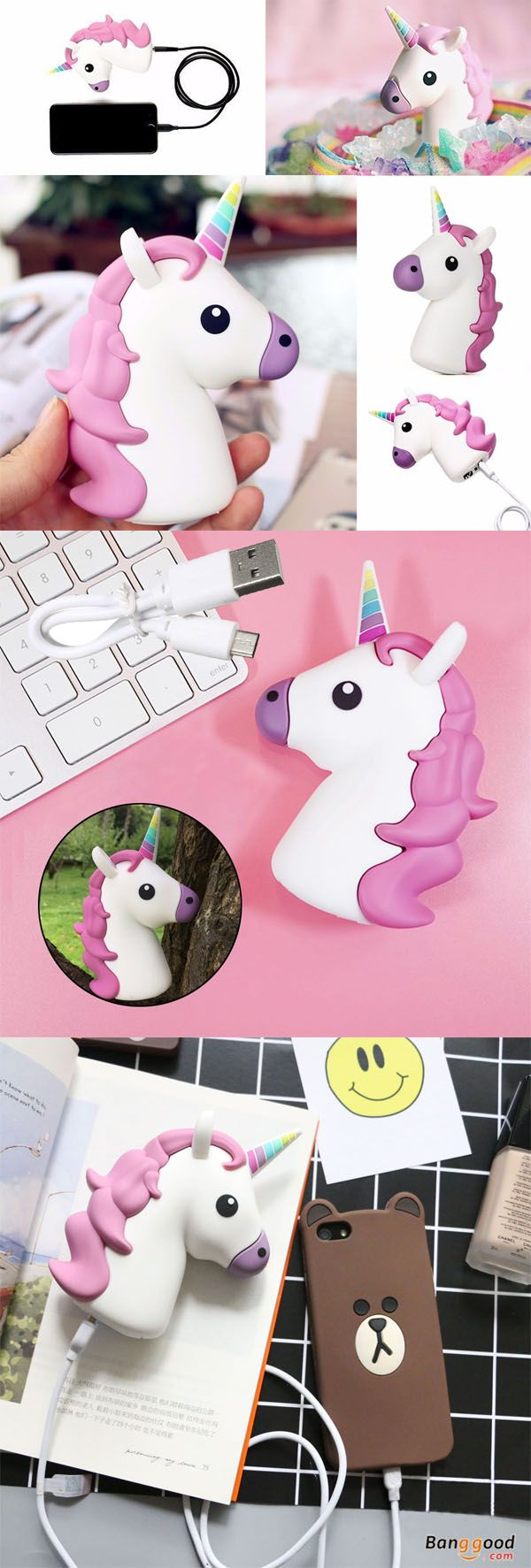 US$14.99 + Free shipping. Super cute appearance that looks good and easy to carry. It can be anywhere at any time on your phone, digital camera,Pad, PDP, MP3, MP4 etc. that has a USB input. Creative unicorn charger, Portable Backup Battery, Power Bank.