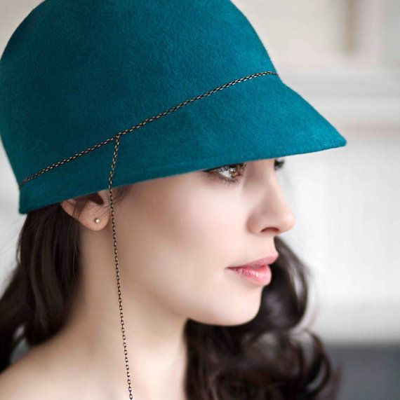 Felt Hat, Teal Winter Cap, Blue Fashion Cloche, Designer Millinery - Senna