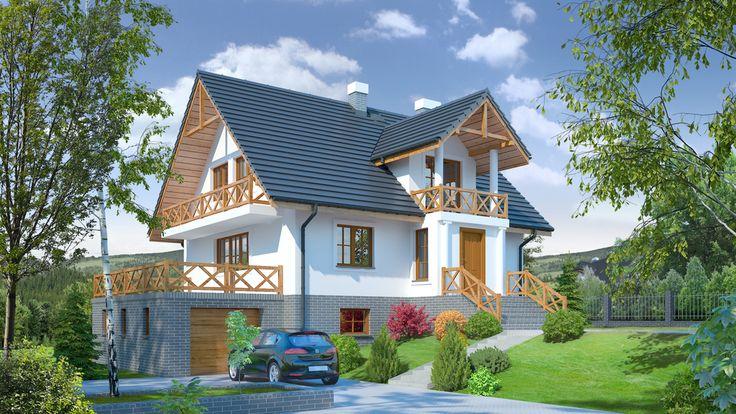 W pełni podpiwniczony dom z poddaszem mieszkalnym, idealny na działki o dużym spadku terenu.