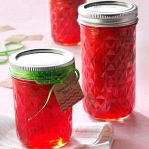 Strawberry Basil Jam Recipe -I make this recipe with fresh-picked strawberries and fresh basil grown in my own herb garden. This unique sweet and savory jam makes a perfect gift—just add a bright ribbon around the top with a gift tag! The deep red jam, laced with flecks of green basil is so beautiful.—Julie O'Neil, Two Harbors, Minnesota