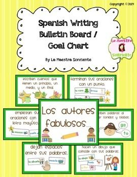 Spanish Writing Bulletin Board / Writing Goal Clip Chart $ (Available with green or red borders)
