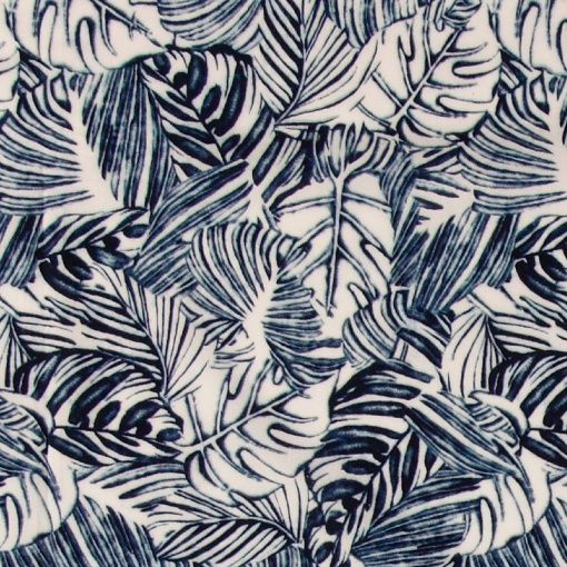 Woven cotton white with blue palm leafs