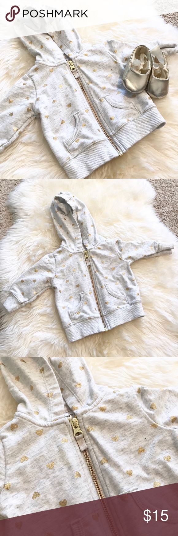 *BUNDLE DEAL* 2 for 1 Zip up hoodie & gold shoes Super adorable zip up hoodie with gold hearts and gold slip ons with lace to match! Used once. In excellent condition. Other