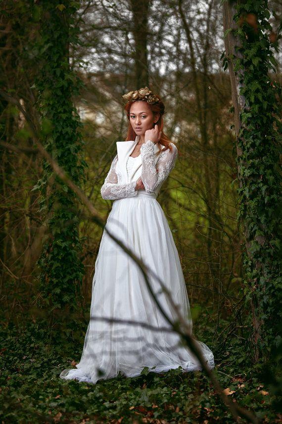 Jasmine / Robe de mariée bustier drapé et jupe en par FaithCauvain