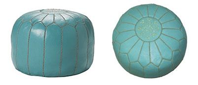 Serena & Lily's Turquoise Leather Moroccan Pouf is $450 plus an additional $30 for shipping—a price only Moroccan royalty can afford.  The cheapest knockout I could find was Overstock.com's Leather Contemporary Ottoman (Morocco) in Turquoise Leather  which costs $129.99Lily'S Turquoise, Leather Moroccan, Costs 129 99, Leather Contemporary, Contemporary Ottoman, Boys Bedrooms, Knockout Knockoff, Cheapest Knockout, Knockoff Finding Colors
