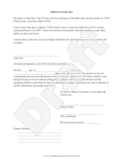 Sample Affidavit - Free Sworn Affidavit Letter, Template, Format - example of an affidavit