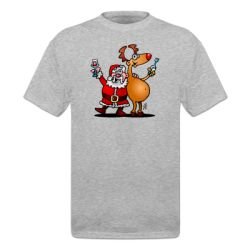 Santa Claus and his reindeer raise their glasses of wine to wish everyone a Merry Christmas. On a T-Shirt. #ShirtCity #Cardvibes #Tekenaartje