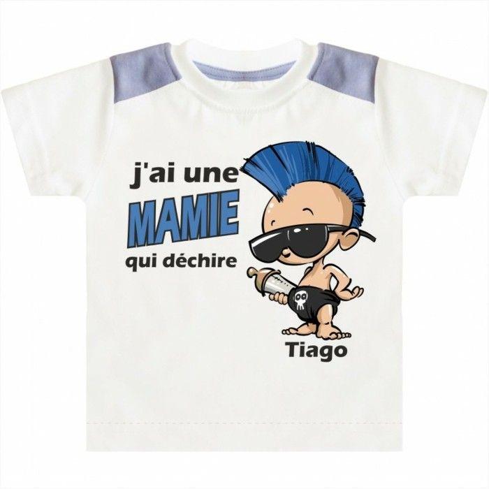 t shirt personnalisé enfant Pointcreation j ai une mamie qui dechire bebe punk…