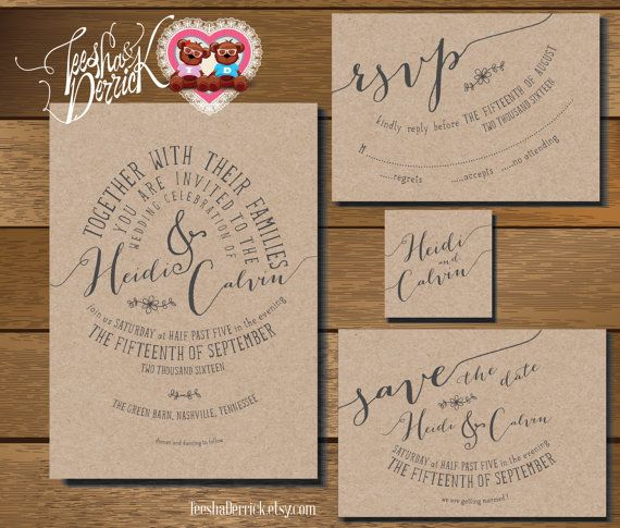 Printable Wedding Invitation Suite, consists of wedding invitation and RSVP card, wedding monogram and Save the date card designs (w0190)