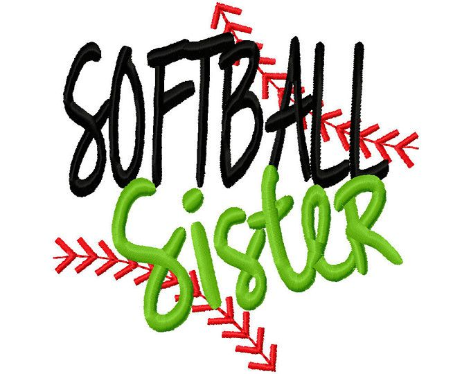 Softball Sister Ball Stitches Machine Embroidery Design Instant