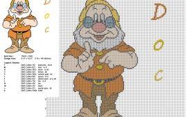 El enanito Sabio de Disney Blancanieves y los siete enanitos patron punto de cruz