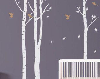 Arbre avec oiseaux mural pochoir pochoir autocollant for Pochoir arbre