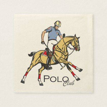 equestrian polo sport club paper napkin - #customizable create your own personalize diy