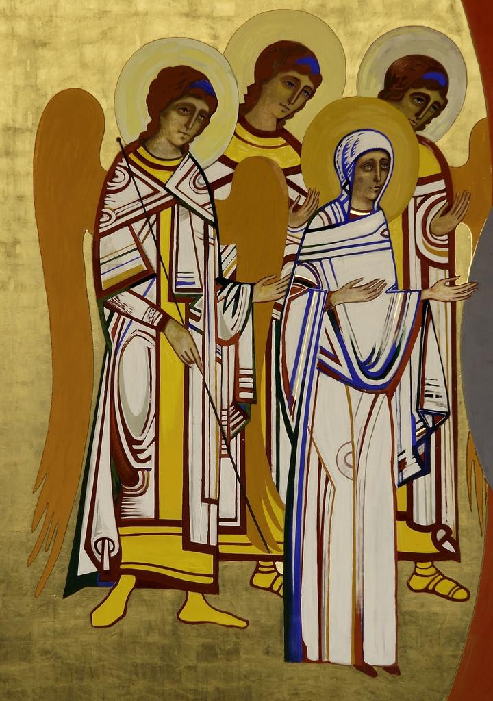 Detalle icono Deesis. Virgen María, San Gabriel y ángeles.