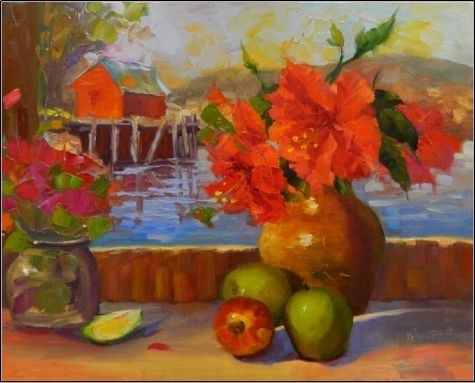 Simple Abundance , 16x20, oil on linen, hibiscus, red hibiscus, apple, green apple, fish shack, painting by artist Maryanne Jacobsen