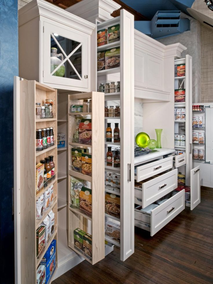 Kitchen Storage Ideas   Kitchen Ideas & Design with Cabinets, Islands, Backsplashes   HGTV--could model my buffet and two pantries after this. Keep in mind when planning those!