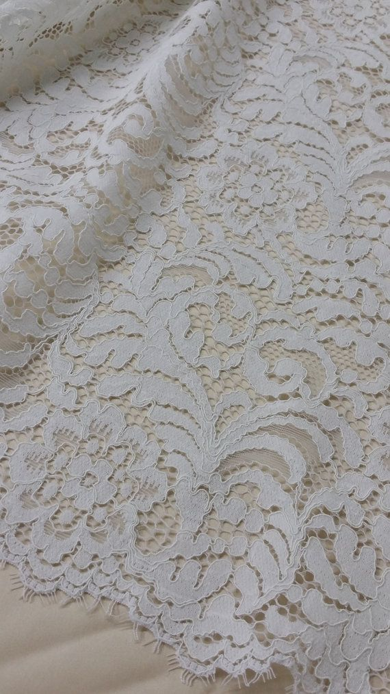 Ivory lace fabric by the yard, French Lace, Embroidered lace, Wedding Lace, Bridal lace, White Lace, Veil lace, Lingerie Lace Alencon Lace