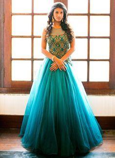 DIY Turquoise N Teal Blue Net Anarkali Gown