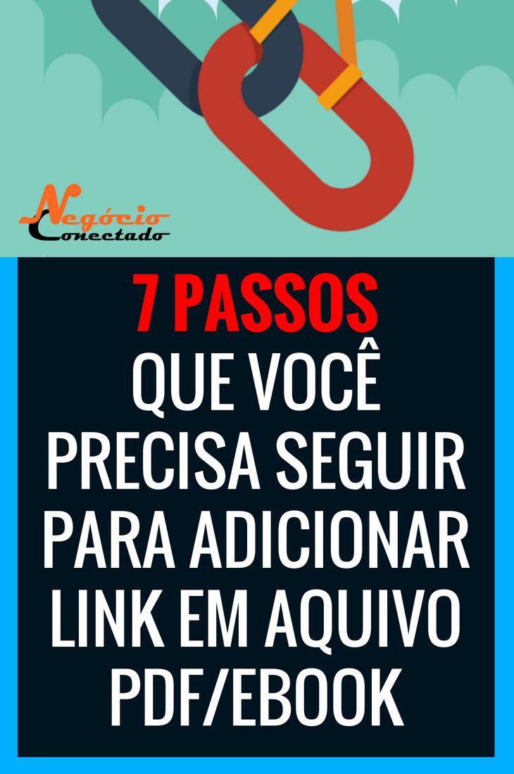 Descubra Como Adicionar Link Em Arquivo Pdf E Ou Ebook Link