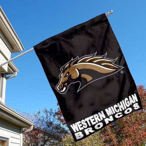 Western Michigan University Broncos House Flag by College Flags and Banners Co.. $23.95. Western Michigan University Broncos House Flag is 30x40 inches in size, is made of single-ply polyester with double-sided bottom school panel, has a top sleeve for insertion of a wood or aluminum flagpole, and the Licensed NCAA School logos are screen printed into this Western Michigan University Broncos House Flag.. Save 14%!