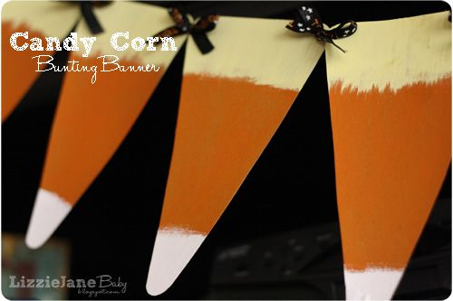 Candy corn bunting banner made from supplies you already have in your pantry!  Such a fun decoration for Halloween!