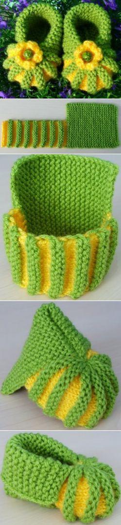Очень-очень простые пинетки! / Вязание спицами / Вязание спицами для детей