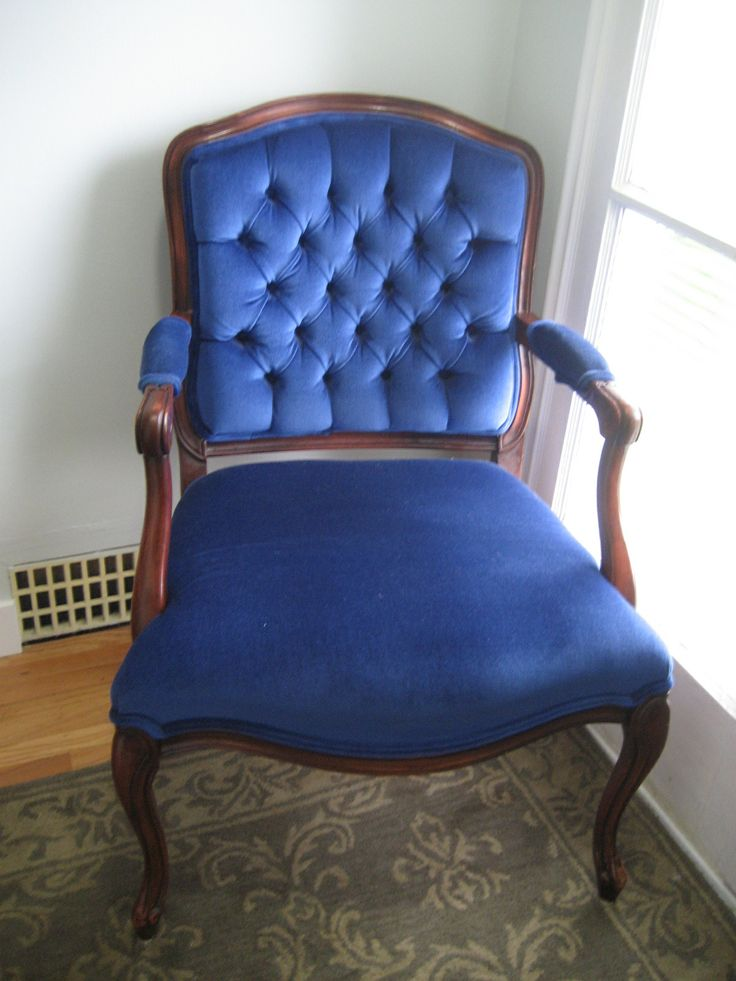 Nobody puts blue velvet chair baby in the corner! This lovely needs a better space!