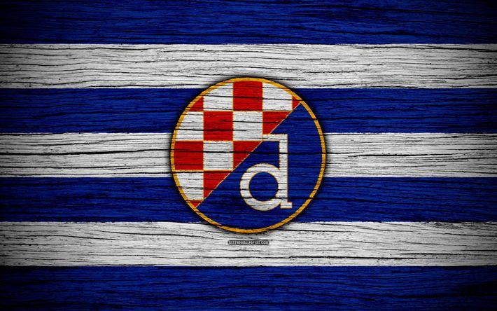 Download wallpapers Dinamo Zagreb, 4k, HNL, art, soccer, football, Croatia, FC Dinamo Zagreb, wooden texture, logo, football club, Dinamo Zagreb FC