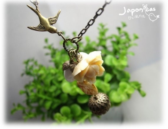 My Little Garden Autumn Vintage ivory cream rose with by japonicas, $60.00