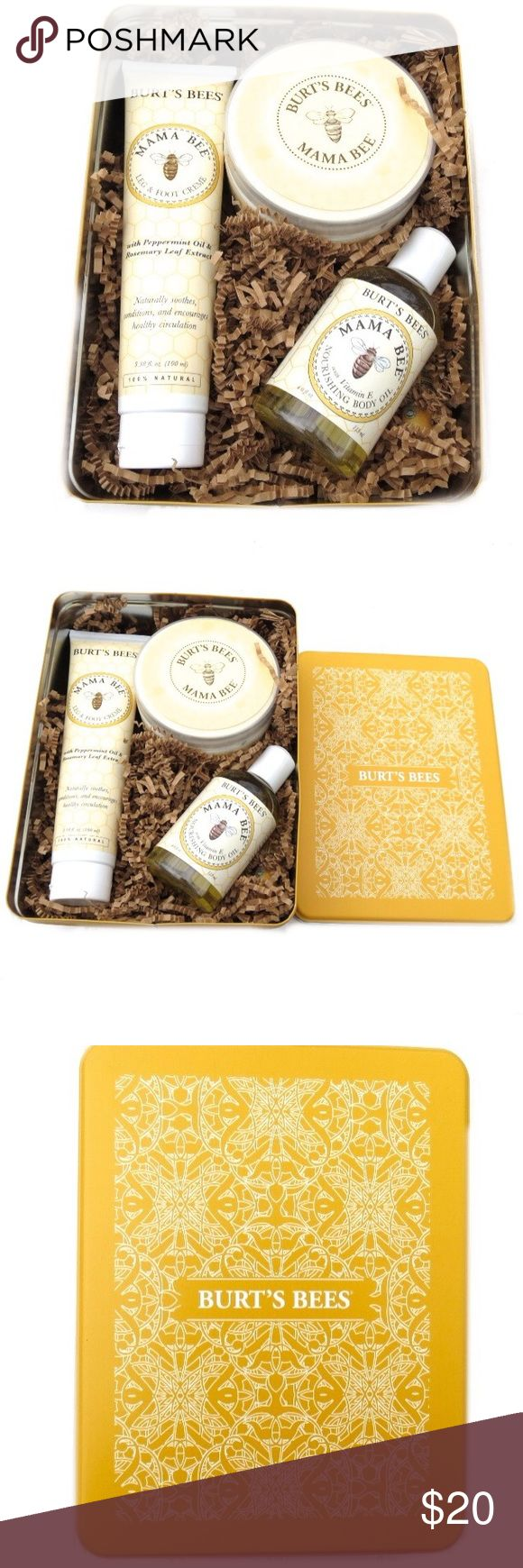 Burts Bees Mama Bee Body Lotion Oil Gift Set This listing is for a brand new Burts Bees 'Mama Bee' gift set. Includes nourishing body oil, belly butter, and leg & foot creme. Comes in a Burts Bees classic tin. Brand new! Great gift! Burt's Bees Makeup