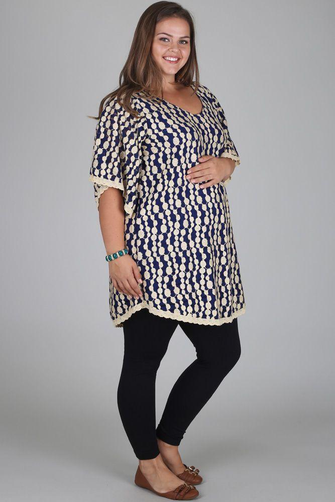 Navy-Blue-Beige-Polka-Dot-Lace-Plus-Size-Maternity-Tunic