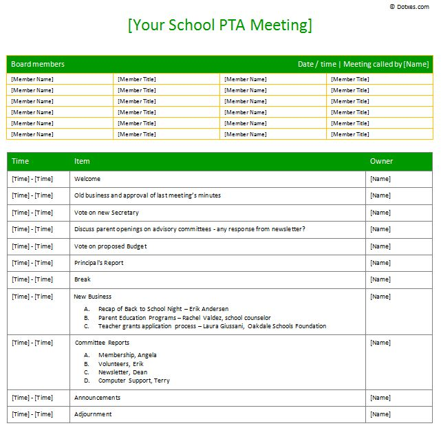teacher meeting agenda template - example of agenda of meeting