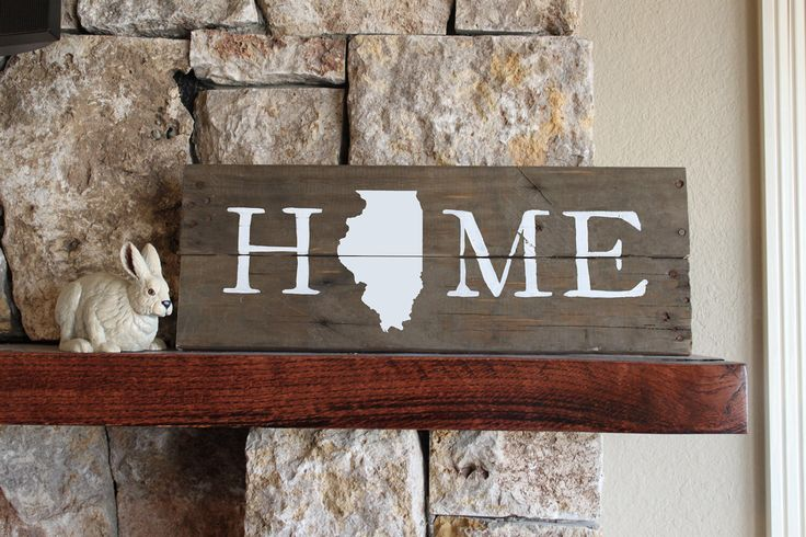 Illinois HOME, Reclaimed Wood Sign, Redbirds, University of Illinois, Rustic Wood Sign, Silhouette Map, Fighting Illinois, IL, Housewarming by elhdesign77 on Etsy https://www.etsy.com/listing/250438325/illinois-home-reclaimed-wood-sign