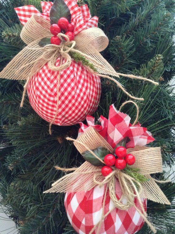 Christmas Ornaments / Red and White Xmas Ornaments / Set of 2 / Gingham Fabric Xmas Ornaments / Homespun Xmas/ Handmade and Design in Fabric