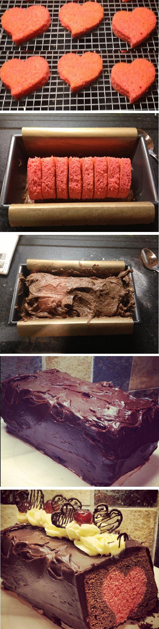 Hidden love heart chocolate suprise cake - Cupcakepedia