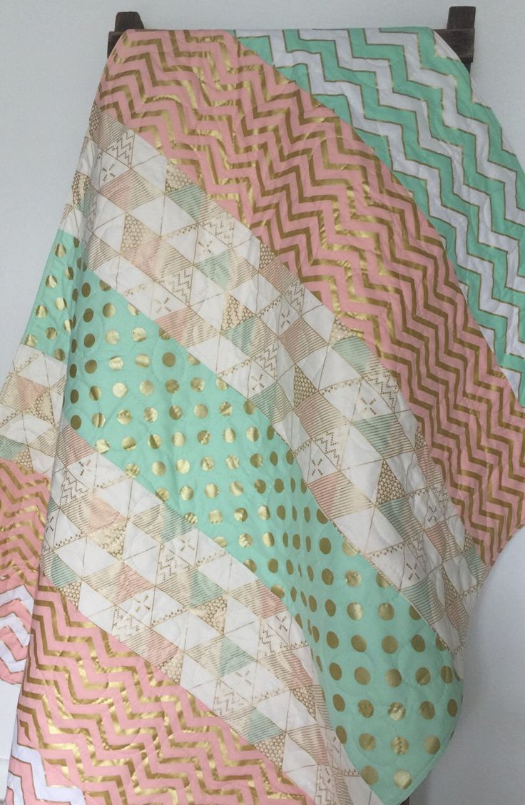Baby Quilt, Girl, Blanket, Brambleberry, Glitz, Modern, Chevron, Gold, Mint, Coral, Crib Bedding,Baby Bedding, Children, Nursery Quilt by CoolSpool on Etsy https://www.etsy.com/listing/236231432/baby-quilt-girl-blanket-brambleberry