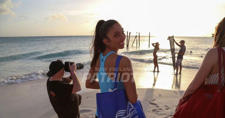 The Patriots Cheerleaders arrived at the Divi Tamarijn Resort in Aruba.for their calendar shoot