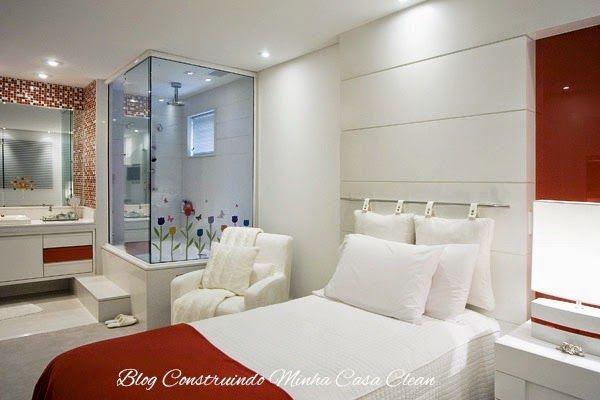 Quartos Integrados com Banheiros de Vidros!  Quartos e Limpadores -> Quarto Com Banheiro Pequeno Integrado