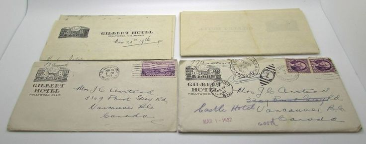 Gilbert Hotel Hollywood California Postal Cover Stationary Letter 1936 & 1937