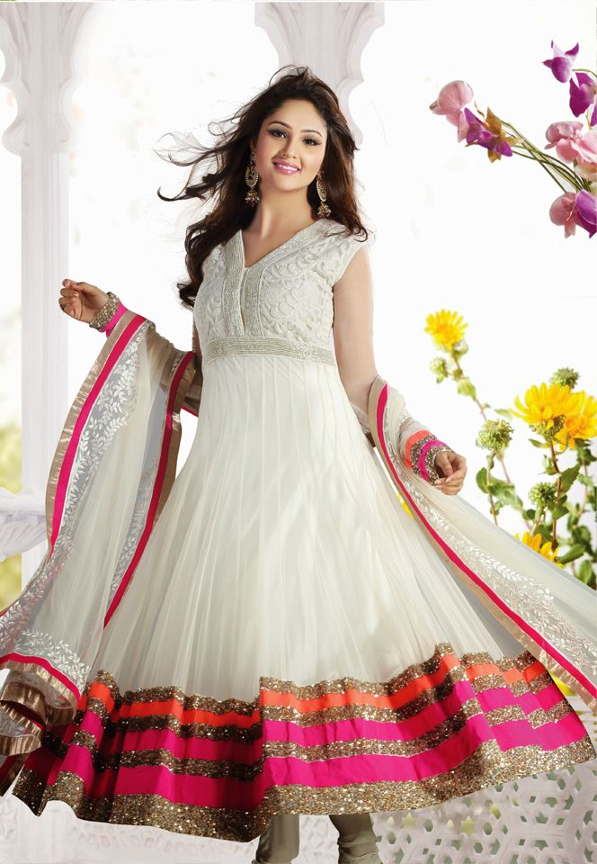 Look outstanding in this embroidered designer anarkali suit.