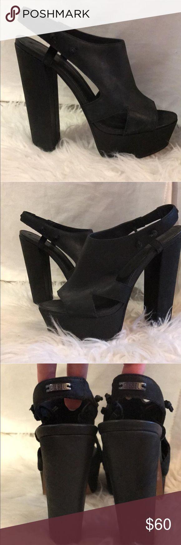 Diesel black leather heels Black sexy heels Diesel Shoes Heels