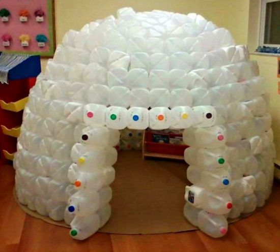 How to make an igloo craft the image for How to build an igloo out of milk jugs