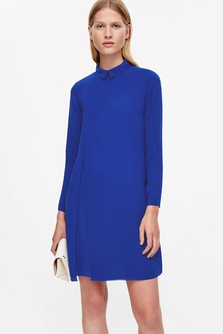 COS image 2 of Pleated raw-cut dress in Royal Blue
