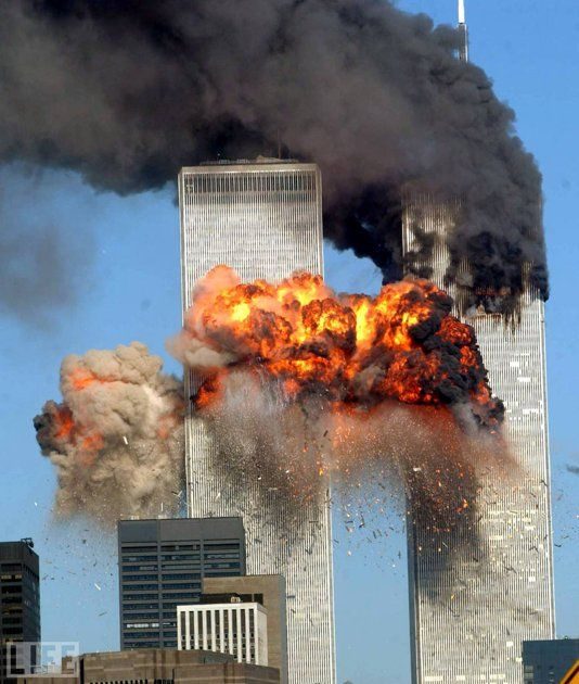 United Airlines flight 175 strikes the South Tower of the World Trade Center, September 11, 2001